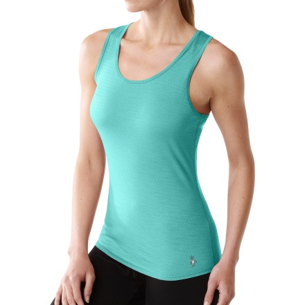 Surf This next-to-skin, body-fitting SmartWool Microweight Tank can be worn on its own in warm weather or as a base layer in cooler temperatures. SmartWool jersey-knit, fine merino wool helps maintain a comfortable temperature whether the day is hot, cold or in between. Flatlock side seams are non-bulky, soft and designed to eliminate chafing. Bound edges around neckline and armholes for a comfortable, smooth finish. Unlike traditional wool, Smartwool items do not itch and can be repeatedly washed and dried without shrinking. Fabric provides UPF 25 sun protection, shielding skin from harmful ultraviolet rays, wicks moisture and dries quickly. Closeout. - $39.73