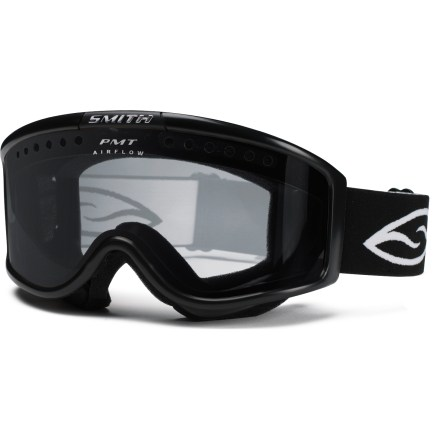 Ski The Smith Monashee OTG snow goggles fit large faces and deliver an excellent field of vision for eyeglass wearers. OTG (over the glasses) design features an enlarged chamber that fits easily over most eyeglasses; reliefs in the temple area reduce pressure when wearing glasses under goggle. Double lenses create an insulation barrier between cold outer air and warm air inside the goggles, preventing fog formation. Fog-X(TM) antifog treatment is bonded permanently to the inner lens for optimum fog-free vision. Structural ventilation system moves air freely through the lens chamber, and a semiporous foam filters moisture and snow particles. Soft hypoallergenic foam creates a total seal around your face. Molded, dual-slide strap provides comfortable fit over the face and around the head. Clear lens tint is an ideal choice when skiing at night; allows 85% visible light transmission. The Smith Monashee OTG snow goggles fit large faces. - $39.99