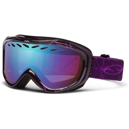 Ski The Smith Transit women's snow goggles feature a sleek silhouette, easy adjustment and a great fit for those with small faces. Double lenses create an insulation barrier between cold outer air and warm air inside the goggles, preventing fog formation. Fog-X(TM) antifog treatment is bonded permanently to the inner lens for optimum fog-free vision. Structural ventilation system moves air freely through the lens chamber, and a semiporous foam filters moisture and snow particles. Self-adjusting split-V nose offers a comfortable fit; soft hypoallergenic foam creates a total seal around your face. Quick-adjust strap is backed with silicone grippers to provides a comfortable, secure fit. Articulating Outrigger Positioning System transfers pressure evenly across the brow and nose to create a complete seal around the face; helps optimize fit when using a helmet. RC36 lens tint combines rose and copper base tints to improve depth perception, cut glare and increase contrast for all-around use; allows 36% visible light transmission (VLT). Blue Sensor Mirror lens uses a light rose base tint to maximize contrast and depth perception in low to medium light while mirror treatment adds glare protection; 70% VLT. Microfiber bag helps protect lens during storage. The Smith Transit women's snow goggles offer medium volume and are designed to fit small faces. - $38.83