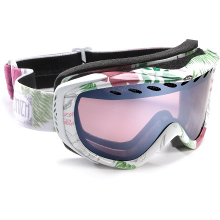 Ski Designed for smaller faces, the Smith Transit White Botanical women's snow goggles offer a great, adjustable fit and an all-around lens tint. Double lenses create an insulation barrier between cold outer air and warm air inside the goggles, preventing fog formation. Fog-X(TM) antifog treatment is bonded permanently to the inner lens for optimum fog-free vision. Structural ventilation system moves air freely through the lens chamber, and a semiporous foam filters moisture and snow particles. Self-adjusting split-V nose offers a comfortable fit; soft hypoallergenic foam creates a total seal around your face. Quick-adjust strap is backed with silicone grippers to provides a comfortable, secure fit. Articulating Outrigger Positioning System transfers pressure evenly across the brow and nose to create a complete seal around the face; helps optimize fit when using a helmet. Ignitor Mirror lens works to reduce eye fatigue by enhancing contrast and depth perception in all conditions; allows 35% visible light transmission. Microfiber bag helps protect lens during storage. The Smith Transit White Botanical snow goggles offer medium volume and are designed to fit small faces. - $38.83
