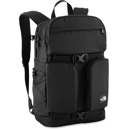 Entertainment The North Face Mondaze laptop pack keeps you organized through even the most complicated days. Smart design features make for a comfortable fit. 2 zippered main exterior pockets; 1 pocket is padded and carries up to a 15 in. laptop. Exterior tricot-lined zip stash pocket. 2 vertical zippered stash pockets; side bungee water bottle pockets. Breathable, padded back panel; FlexVent(TM) injection-molded shoulder straps designed specifically for women; adjustable sternum strap. Compression straps cinch The North Face Mondaze pack for easy carrying. From The North Face Campus Collection, this pack features retro aesthetics, a contemporary design and durable materials and construction. Closeout. - $68.73