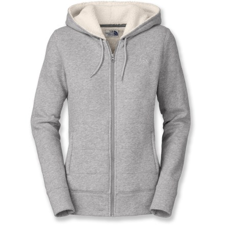 Snuggle into the warm, comfortable sherpa lining and feel why the Timberwood hoodie from The North Face is an essential addition to any fall wardrobe. Cotton/polyester fleece blend quilted body is soft, warm and breathable. Sherpa lining offers additional warmth and comfort for cold evenings spent outdoors. Hood with drawcords for easy adjustments. On-seam hand pockets. The North Face Timberwood hoodie features embroidered logos on chest and rear shoulder. Closeout. - $62.93