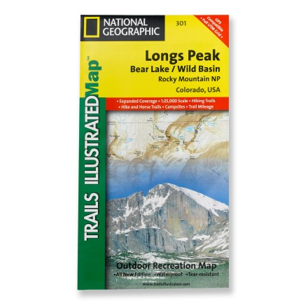 Camp and Hike This National Geographic Trails Illustrated folded map offers comprehensive coverage of Longs Peak, Bear Lake and Wild Basin in Colorado. - $9.95