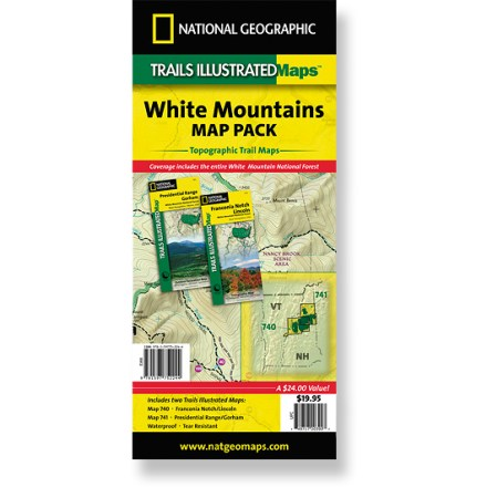 Camp and Hike The Trails Illustrated White Mountains map pack combines 2 detailed maps that offer comprehensive coverage of the White Mountains in Vermont and New Hampshire.. - $19.95