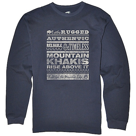Mountain Khakis Men's Wanted LS T-Shirt DECENT FEATURES of the Mountain Khakis Men's Wanted LS T-Shirt Water-Based Inks Limited Edition Hand-Drawn Artwork by Cheryl Humphries Taped Neck Seam Side Seam Construction Cotton/Spandex Rib Neck Double-Needle Cover-Stitched Seams Enzyme Washed Casual Fit The SPECS 5.5oz 100% Certified Organic Cotton Jersey - $34.95