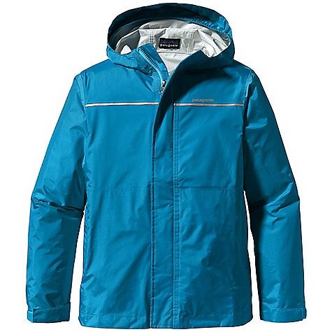 Free Shipping. Patagonia Boy's Torrentshell Jacket DECENT FEATURES of the Patagonia Boys' Torrentshell Jacket Made of durable H2No Performance Standard 2.5-layer nylon ripstop fabric with a waterproof/breathable barrier and a Deluge DWR finish with updated fit 3-panel hood with elasticized internal gusset under brim allows protective fit with full peripheral vision Built-in visor sheds rain and cuts glare Full-length zipper with external storm flap and internal wind flap secures with hook-and-loop closures Hook-and-loop cuff closure seals out wet weather Two zippered side pockets with reflective pulls One inside mesh drop-in pocket Internal drawcord at hem High-visibility reflective tape across front and back yoke Hand-me-down ID label The SPECS Relaxed fit Weight: 8.6 oz / 244 g H2No Performance Standard Shell: 2.5-layer, 2.6-oz 50-denier 100% nylon ripstop with a waterproof/breathable barrier and a Deluge DWR (durable water repellent) finish This product can only be shipped within the United States. Please don't hate us. - $79.00