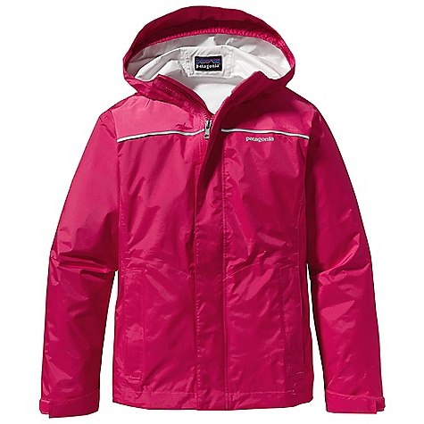 Free Shipping. Patagonia Girl's Torrentshell Jacket DECENT FEATURES of the Patagonia Girls' Torrentshell Jacket Durable H2No Performance Standard 2.5-layer nylon ripstop fabric is windproof and waterproof Three-panel hood with elasticized gusset under brim keeps hood on and rain out Yoke seam detail with reflective tape along back Full-zip with chin flap and external double storm flap has hook-and-loop closure for guaranteed wet-weather protection Elasticized cuff with hook-and-loop closure seals out wet and cold Two zippered side pockets with reflective zipper pulls One inside drop-in pocket Internal drawcord at hem Hand-me-down ID label The SPECS Weight: 7.5 oz / 212 g Regular fit H2No Performance Standard shell: 2.5-layer, 2.6-oz 50-denier nylon ripstop with a waterproof/breathable barrier and a Deluge DWR (durable water repellent) finish This product can only be shipped within the United States. Please don't hate us. - $99.00
