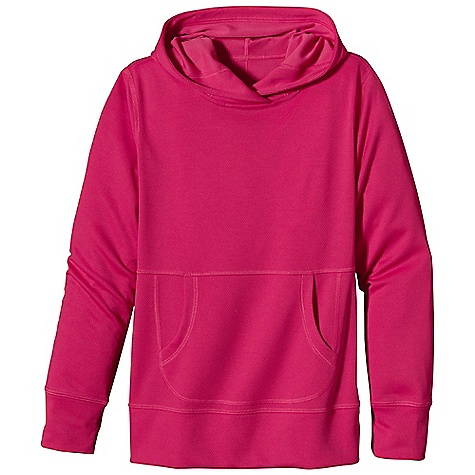 Patagonia Girl's Sunshade Hoody DECENT FEATURES of the Patagonia Girls' Sunshade Hoody Made of soft, cool-wearing polyester double-knit mesh with 35-UPF sun protection Hood with overlapping front shelters face and neck from wind and sun Kangaroo-pouch hand warmer pocket with eye-catching seams Flat seams for chafe-free comfort Straight hem The SPECS Regular fit Weight: 6.4 oz / 181 g 4.9-oz 100% polyester (50% recycled) double-knit mesh with 35-UPF sun protection This product can only be shipped within the United States. Please don't hate us. - $49.00