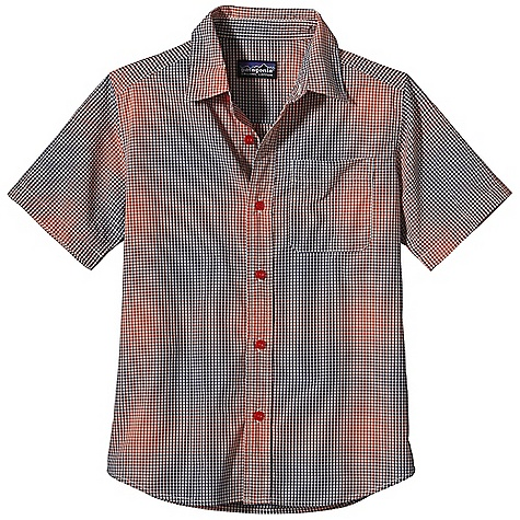 Patagonia Boy's Gone Again Shirt DECENT FEATURES of the Patagonia Boys' Gone Again Shirt Made of a lightweight, breathable nylon/polyester plain weave blend with 30-UPF sun protection Button-front shirt with single left chest patch pocket Center pleat detail on back yoke The SPECS Regular fit Weight: 2.9 oz / 82 g 2.3-oz 52% nylon/48% polyester plainweave with 30-UPF sun protection This product can only be shipped within the United States. Please don't hate us. - $45.00