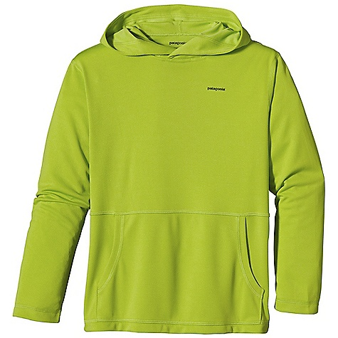 Patagonia Boy's Sunshade Hoody DECENT FEATURES of the Patagonia Boys' Sunshade Hoody Made of soft, cool-wearing polyester double-knit mesh with 35-UPF sun protection Hood with overlapping front shelters face and neck from wind and sun Kangaroo-pouch hand warmer pocket Flat seams for chafe-free comfort Straight hem The SPECS Relaxed fit Weight: 6.4 oz / 181 g 4.9-oz 100% polyester (50% recycled) double-knit mesh with 35-UPF sun protection This product can only be shipped within the United States. Please don't hate us. - $49.00