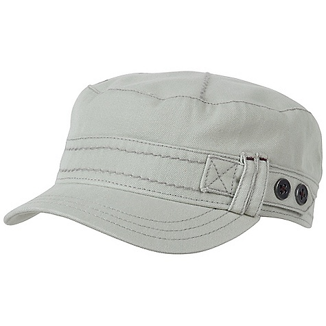 On Sale. Prana Women's Jackie Cadet Hat DECENT FEATURES of the Prana Women's Jackie Cadet Canvas fabrication with vintage wash Adjustable back strap Contrast bar tack details Heavy gauge thread embellishments Printed lining Cadet fit The SPECS Fabric: 100% Cotton - $25.99