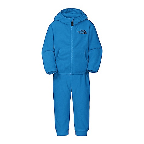 On Sale. Free Shipping. The North Face Infants' Glacier Suit DECENT FEATURES of The North Face Infants' Glacier Suit Soft, comfortable, easy-care fabric Center front full zip Elastic binding at hood, cuffs and hem Embroidered logo at left chest and rear Quick-drying Relaxed fit Full zip front on hoodie with EZ (easy) Zips Kangaroo hand pockets Blue sign approved fabric Pull-on pant The SPECS Source: Imported Fabric: Polartec Classic Micro-100% polyester fleece, blue sign approved This product can only be shipped within the United States. Please don't hate us. - $29.99