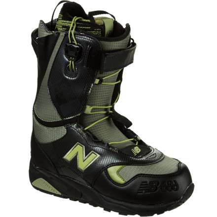 Snowboard What do you get when you mix the low profile and light weight of a trail running sneaker with the technical utility of a snowboard boot The 686 Times New Balance 580 Snowboard Boot. A responsive flex and lightweight upper materials give you lighting-quick response for all-mountain ripping, and the adjustable hook-and-loop Powerstrap on the upper cuff lets you soften things up when it's time to hit the park. - $149.40