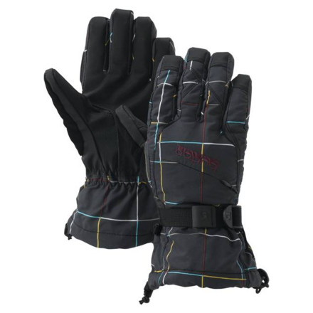 Snowboard If you're looking for gloves with a bomber waterproof breathable Gore-Tex insert, but you're not into cuffs that pull over your jacket sleeves, grab the Burton Women's Gore-Tex Glove. This snowboard glove's low-profile cuff fits under your jacket sleeve. - $41.94