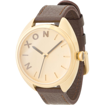Entertainment Blend vintage with modern when you wear the Nixon Women's Wit Watch. Pulling from classical influences, this casual timepiece boasts such sophisticated touches as a genuine Italian leather band and the edgy contrast of black-on-gold analog styling. - $169.95