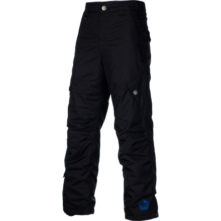 Snowboard No matter how tough your kid is, no one likes riding when they're soaking wet and freezing. Keep him dry with the Sessions Trooper Boys' Snowboard Pant so he can keep shredding even when the weather takes a turn for the worse. The DWR-treated fabric repels moisture and 80g synthetic insulation provides low-profile warmth so he stays comfortable when temps start to dip. - $54.98