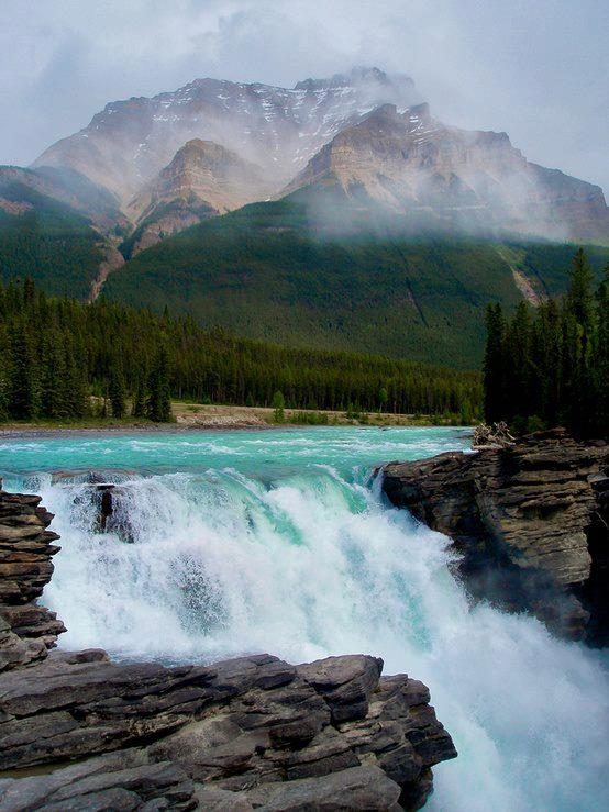 Camp and Hike A glacial waterfall flowing over quartzite. Alberta's Athabasca Falls