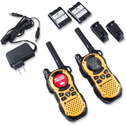 Camp and Hike The Motorola MT350R 2-way radios guard against extreme weather and harsh environments while delivering high-end communication and NOAA weather information. Radios transmit and receive up to 35 mi. (per manufacturer); range is based on an unobstructed line of sight between you and another radio operator in good weather. Weatherproof design helps protect against snow, rain, splashes and dust. Receives 11 NOAA weather channels, offering coverage of all government-operated NOAA weather broadcasts. Talk on both Family Radio Service (FRS) and General Mobile Radio Service (GMRS), providing 22 channels with 121 privacy codes. Power is automatically stepped down to a half-watt across FRS-only channels (2-mile range), enabling radios to talk to all existing FRS 2-way radios. iVOX voice activation lets you talk hands-free when used with or without optional accessories; vibrating call alert is useful for situations where ringing can be intrusive. 10 audible call tones grab the attention of your family and friends before you start speaking; talk-confirmation tone signals you've finished speaking. Built-in LED flashlights provide an emergency light source; LCD display with backlight makes the radio easy to read in the dark. Easy power options include recharging with the provided mini-USB charger or dropping in 3 AA alkaline batteries (sold separately). The Motorola MT350R 2-way radios provide up to 10 hrs. of talk time with the NiMH rechargeable battery pack and up to 15 hours with alkaline batteries. Radios come with 2 NiHM battery packs, 2 belt clips, wall adapter with 2 mini-USB connectors, emergency preparedness checklist and user guide. - $89.95