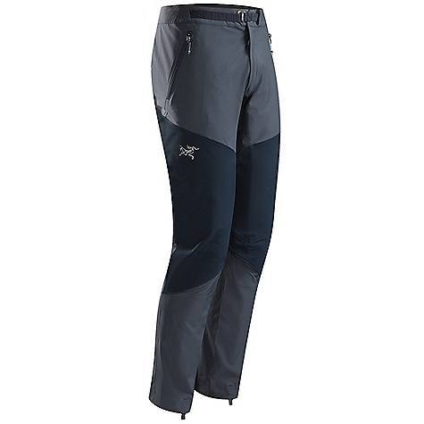 Free Shipping. Arcteryx Men's Gamma Rock Pant FEATURES of the Arcteryx Men's Gamma Rock Pant Four-way stretch Fortius 1.0 fabric reinforced with Burly Double Weave knees and seat (hybrid mapping) Articulated patterning and gusseted crotch allows full mobility Two zippered front hand pockets and a fly zip Low profile metal hook waist adjuster; chalk bag attachment window Seamless inner lower leg reduces crampon snagging; stowable boot lace hooks Stowable bootlace hook DWR finish (Durable Water Repellent) helps repel water from fabric surface Stretchy fabric provides freedom of movement Reinforced knees and seat Adjustable integrated webbing belt with snap waist closure Webbing belt loop to attach a chalk bag - $189.00