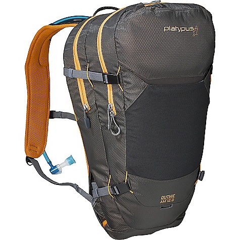 Free Shipping. Platypus Duthie A.M. 12.0 Pack DECENT FEATURES of the Platypus Duthie A.M. 12.0 Pack Big Zip SL Reservoirs Ventilated, Stashable 3D Air Mesh Waistbelt Ventilated 3D Air Mesh Shoulder Straps with Perforated Foam Padding BioCurve Back Panel with Air Flow Channel Side Compression/Body Armor Carry Independent Hydration Pocket Internal Tool/Pump Pockets External Stuff pocket Helmet/Accessory Lash Points On-The-Go Access Hip Pockets Reservoir Suspension System Multiple Hose Routing Options Reflective Detailing Light Loop 3.0L Big Zip SL reservoir 9 Liters of gear storage The SPECS Material: 210D PU-Coated Diamond Ripstop, Nylon 210D PU-Coated Oxford Nylon, YKK Zippers This product can only be shipped within the United States. Please don't hate us. - $119.95