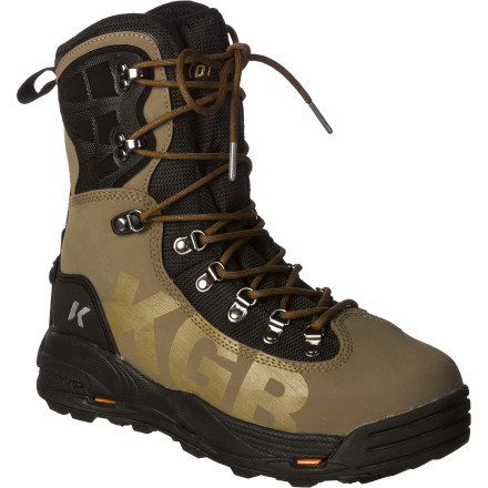 Camp and Hike With the OmniTrax Interchangeable Sole System, the Korkers Men's KGB Wading Boot has the ability to perform in every river you fish, regardless of what the river bottom looks like. Each model includes two different interchangeable outsoles, allowing you to choose felt, studs, or a sticky rubber sole to best suit the terrain. A high cuff with an integrated TPU cage provides maximum ankle stability, and the use of hydrophobic materials helps to reduce water retention and the spread of invasive species. - $209.95