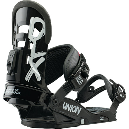 Snowboard The Union DLX Binding is the 4 x 4 workhorse of Union's lineup of foot-restraints, offering extreme durability as well as versatility. It's soft and smooth-flexing enough to deliver a forgiving ride for new to intermediate riders, but is also supportive enough to not roll Joe Sexton's ankle when he's pretzling out of a mean frontside. This built-to-last binding comes equipped the 'basic' components that makes Union stand out such as injected EVA bushings under the chassis and injected aluminum ratchets, and has been upgraded to the all-new open-toe straps as well as the new Direct-Connect strap system. - $77.97