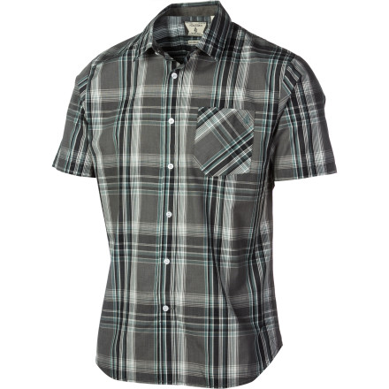 Skateboard Volcom gives you the good looks, while keeping it casual and cool, in the Men\342\200\231s X Factor Short-Sleeve Plaid Shirt. Volcom blends cotton and polyester as casually as you blend beer and sun in order to give you a comfortable, slim-fitting, button-up shirt that\342\200\231s both rail-session and cubicle ready\342\200\224that is, if your chosen employer thinks casual Friday starts Monday. - $35.96