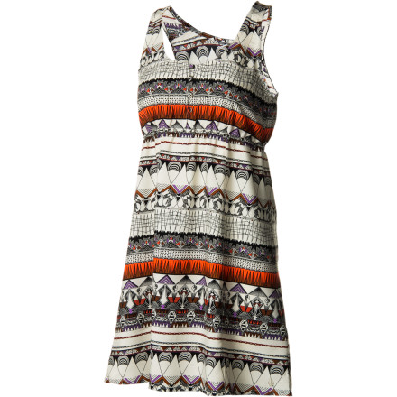 Entertainment Class up your summer fun in the universally flattering crepe Volcom Women's No Relief Dress. A fitted bodice and A-line skirt with princess seams and elastic waist provide both classic femininity and everyday comfort. A beach-appropriate print and front button placket keep things fun and easy. - $37.09