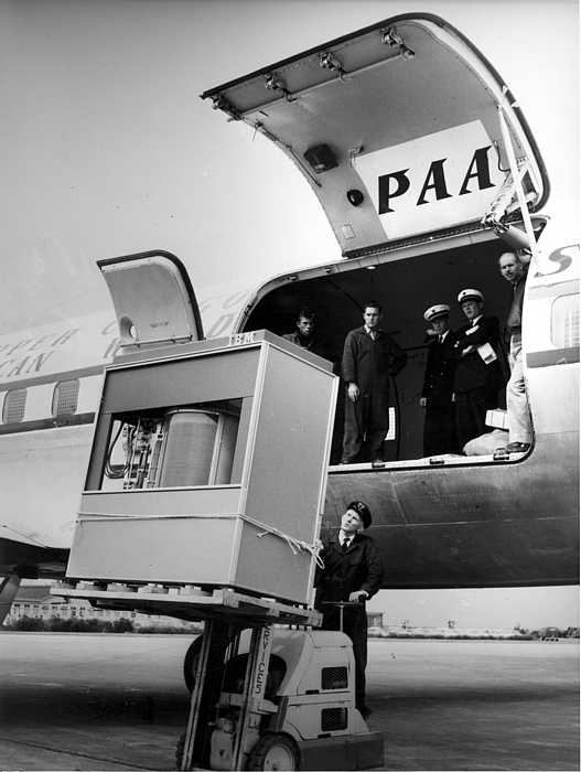 Entertainment  A 5mb Hard Drive in 1956 being loaded onto a plane