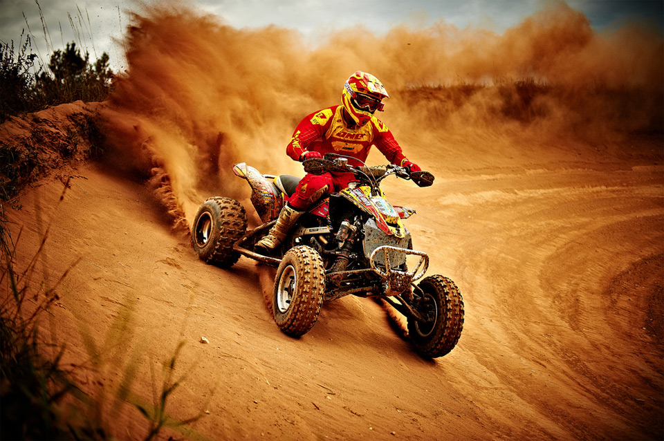 Motorsports dirt quad racing