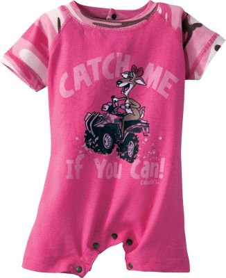 Right in front of you one minute and gone in a flash the next. Your baby girl has the attitude to match this romper. 100% cotton. Imported.Sizes: 6-9 mo., 12 mo., 18 mo.Color: Cherry, Pink (not shown). - $9.88