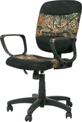 Hunting Soft and supportive cushioning keeps you comfortable at work, while the Seclusion 3D fabric will have you daydreaming about sitting in deer stands and duck blinds. Adjustable butterfly mechanism with pneumatic seat-height adjustment. Suede fabric with fire-retardant foam and polywood. Ergonomic loop armrests. Durable nylon base. Assembly required. Imported.Dimensions: 36-40H x 24W x 22.5D. Type: Office Chairs. - $49.88