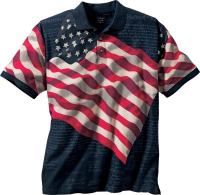 Guns and Military This classic, short-sleeve polo proudly puts the American flag and the Declaration of Independence right up front. Three-button placket. Made of 100% cotton for soft, breathable comfort. Machine washable. Imported. Sizes: M-2XL. Colors: Natural, Navy. - $34.99