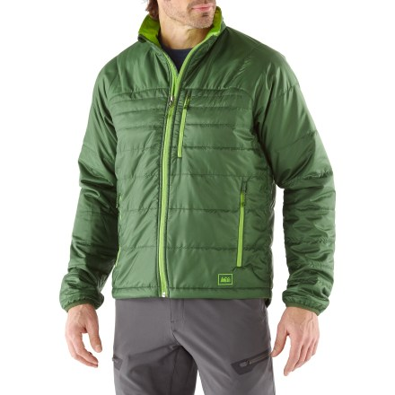 Entertainment The REI Revelcloud men's jacket stuffs easily into your backpack and provides lightweight warmth during cold, dry days on the trail, or layer it under a shell on rainy days for ultimate protection. - $73.83