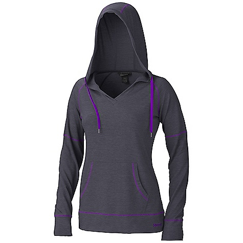 Free Shipping. Marmot Women's Jessa Hoody DECENT FEATURES of the Marmot Women's Jessa Hoody Mid-Weight, Comfortable, Soft French Terry Performance Knit Fabric Ultraviolet Protection Factor (UPF) 50 Stretch for Increased Mobility Quick-Drying Pullover with Kangaroo Pocket 3 Piece Hood Contrast Flat- Locked Seams for Added Comfort Drawcord at Hood for Adjustability V-Neck Styling The SPECS Weight: 14.4 oz / 408.2 g Material: 54% Polyester, 44% Tencel Lyocell, 2% Elastane Terry Heather 6.3 oz/yd Center Back Length: 25in. Fit: Relaxed - $69.95