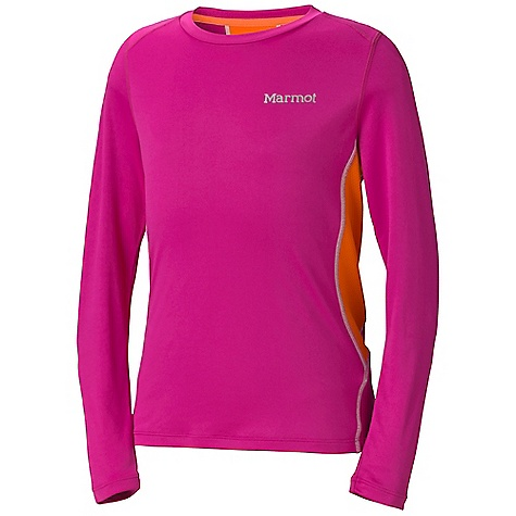 Marmot Girls' Outlook LS Top DECENT FEATURES of the Marmot Girls' Outlook Long Sleeve Top Lightweight, Breathable, Soft Performance Knit Fabric Ultraviolet Protection Factor (UPF) 50 Quick-Drying and Wicking Mesh Panels for Breath ability Flat- Locked Seams for Added Comfort Droptail Hem for Increase Coverage Tag-Free Neckline Crew Neck The SPECS Weight: 4.9 oz / 138.9 g Material: 100% Polyester 3.7oz/yd 100% Polyester Mesh 3.0 oz/yd Fit: Regular - $29.95