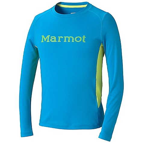 Marmot Boys' Windridge With Graphic LS Top DECENT FEATURES of the Marmot Boys' Windridge With Graphic Long Sleeve Top Lightweight, Breathable, Comfortable Performance Knit Fabric Ultraviolet Protection Factor (UPF) 50 Quick-Drying and Wicking Contrast Flat- Locked Seams for Added Comfort Mesh Panels for Breath ability Center Front Graphic Logo Tag-Free Neckline The SPECS Weight: 7.4 oz / 209.8 g Material: 100% Polyester Jersey 4.0 oz/yd 100% Polyester Mesh 3.0 oz/yd Fit: Regular - $29.95