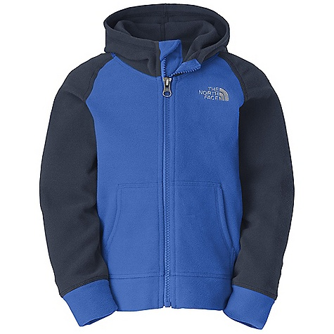 The North Face Toddler Boys' Glacier Full Zip Hoodie DECENT FEATURES of The North Face Toddler Boys' Glacier Full Zip Hoodie Extremely durable, pill-resistant surface Lightweight warmth Kangaroo handwarmer pockets Embroidered logo at left chest The SPECS Average Weight: 4.6 oz / 130 g Center Back: 15.25in. 70D 155 g/m2 100% polyester fleece This product can only be shipped within the United States. Please don't hate us. - $34.95