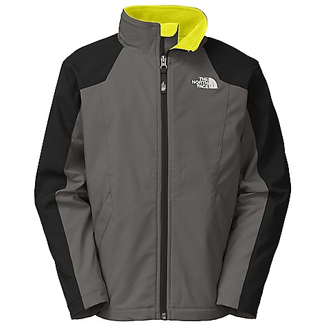 Free Shipping. The North Face Boys' Long Distance Softshell Jacket DECENT FEATURES of The North Face Boys' Long Distance Softshell Jacket TNF Apex Aerobic wind permeability rated at 10 CFM Zippered hand pockets Drop lining Brushed collar lining ID label Embroidered logo at left chest and back right shoulder Imported The SPECS Average Weight: 17.39 oz / 493 g Center Back Length: 21.75in. Body: 165 g/m2 94% polyester, 6% elastane four-way stretch TNF Apex Aerobic double weave (blue sign approved fabric) Lining: 100% polyester Polartec Classic Micro fleece (blue sign approved fabric) This product can only be shipped within the United States. Please don't hate us. - $84.95