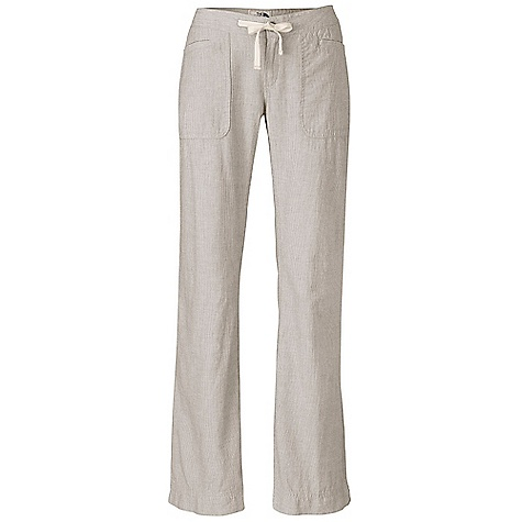 Free Shipping. The North Face Women's Larison Linen Pant DECENT FEATURES of The North Face Women's Larison Linen Pant Patch-on hand pockets with welted opening Coconut shell button center front closure with zip-fly Herringbone tape waist drawcord Fell-stitched inseams Welt coconut button rear pockets with shadow stitching Logo clip label on rear pocket The SPECS Average Weight: 9 oz / 240 g Inseam: 32in. Body: 160 g/m2 (4.7 oz/yd2) 55% linen, 45% cotton yarn-dyed stripe Wash: enzyme washed This product can only be shipped within the United States. Please don't hate us. - $64.95