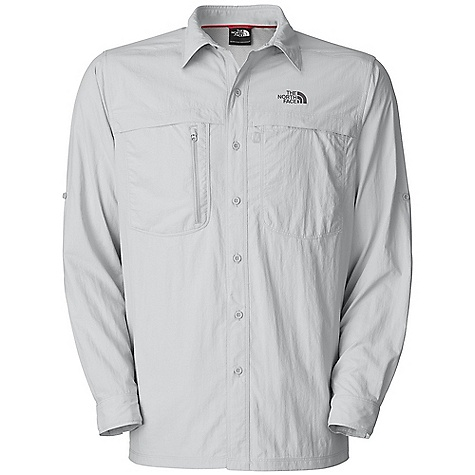 Free Shipping. The North Face Men's L-S Horizon Peak Woven Top DECENT FEATURES of The North Face Men's Long Sleeve Horizon Peak Woven Top Lightweight, breathable DWR finish Sun collar stand Recycled rubber buttons Secure-zip chest pocket Velcro chest pocket Side and underarm gussets Sleeve roll-up tabs Hipbelt compatible Straight hem Ultraviolet Protection Factor (UPF) 30 Imported The SPECS Average Weight: 7 oz / 210 g Center Back Length: 29.5in. 70D 99 g/m2 (93.49 oz/yd2) 100% lightweight ripstop nylon This product can only be shipped within the United States. Please don't hate us. - $64.95