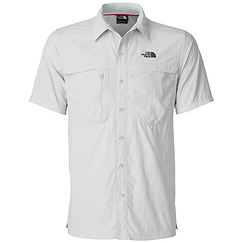 Free Shipping. The North Face Men's S-S Horizon Peak Woven Top DECENT FEATURES of The North Face Men's Short Sleeve Horizon Peak Woven Top Lightweight, breathable DWR (durable water repellent) finish Sun collar stand Recycled rubber buttons Secure-zip chest pocket Velcro chest pocket Side and underarm gussets Hipbelt compatible Straight hem Ultraviolet Protection Factor (UPF) 30 Imported The SPECS Average Weight: 7 oz / 198 g Center Back Length: 29.5in. 70D 99 g/m2 (93.49 oz/yd2) 100% lightweight ripstop nylon This product can only be shipped within the United States. Please don't hate us. - $54.95