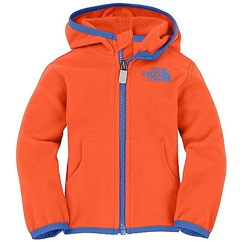 The North Face Infant Glacier Full Zip Hoodie DECENT FEATURES of The North Face Infant Glacier Full Zip Hoodie Extremely durable, pill-resistant surface Lightweight warmth Contrast color center front zip Kangaroo handwarmer pockets Embroidered logo at left chest The SPECS Average Weight: 3.6 oz / 100 g Center Back Length: 12.25in. 70D 155 g/m2 100% polyester fleece This product can only be shipped within the United States. Please don't hate us. - $34.95