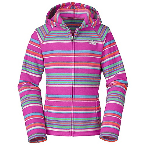 Free Shipping. The North Face Girls' Glacier Striped Full Zip Hoodie DECENT FEATURES of The North Face Girls' Glacier Striped Full Zip Hoodie Extremely durable, pill-resistant surface Lightweight warmth Kangaroo hand-warmer pockets Embroidered logo at left chest Imported The SPECS Average Weight: 9 oz / 240 g Center Back Length: 20.5in. 214 g/m2 100% polyester printed fleece This product can only be shipped within the United States. Please don't hate us. - $49.95