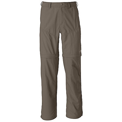 Free Shipping. The North Face Men's Horizon Convertible Pant DECENT FEATURES of The North Face Men's Horizon Convertible Pant Lightweight, breathable nylon ripstop DWR finish Fixed waist with belt loops and zip-fly Secure-zip front pockets Rear pockets with Velcro closure Crotch gusset Pant legs zip off to a 10in. short Color-coded convertible leg zips Relaxed fit The SPECS Average Weight: 12 oz / 350 g Inseam: short: 30in., regular: 32in., long: 34in. 70D 113 g/m2 (3.98 oz/yd2) 100% nylon woven with ripstop This product can only be shipped within the United States. Please don't hate us. - $74.95