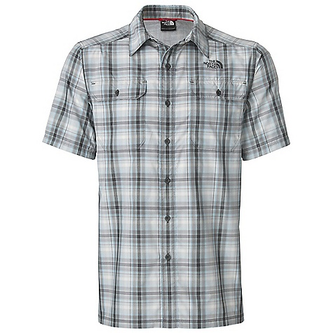 Free Shipping. The North Face Men's S-S Pine Knot Woven Top DECENT FEATURES of The North Face Men's Short Sleeve Pine Knot Woven Top Sun collar stand Rotated shoulder seams for pack compatibility and comfort Double chest pockets with button closure Underarm and side gussets Ultraviolet Protection Factor (UPF) 50 The SPECS Average Weight: 6 oz / 170 g Center Back Length: 29.5in. 82 g/m2 (2.89 oz/yd2) 59% nylon, 41% polyester nylon SUPPLEX This product can only be shipped within the United States. Please don't hate us. - $64.95