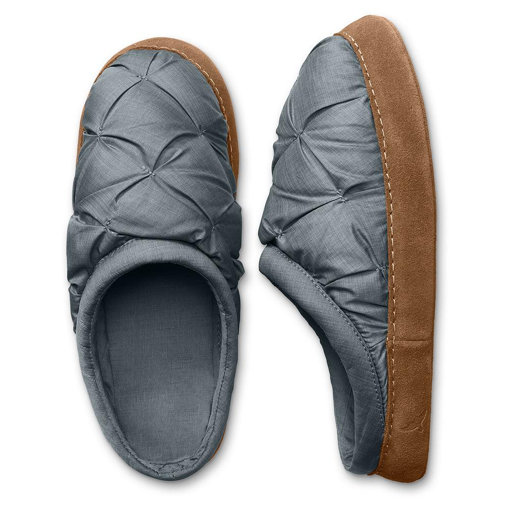Camp and Hike Eddie Bauer Down Scuff Slippers - The warmth and luxury of down for your feet. With a fit that's as comfortable as a pair of socks. Made of down-filled nylon ripstop with EVA foam insoles and suede soles. Matching nylon stuff-bag included. Imported. - $14.99