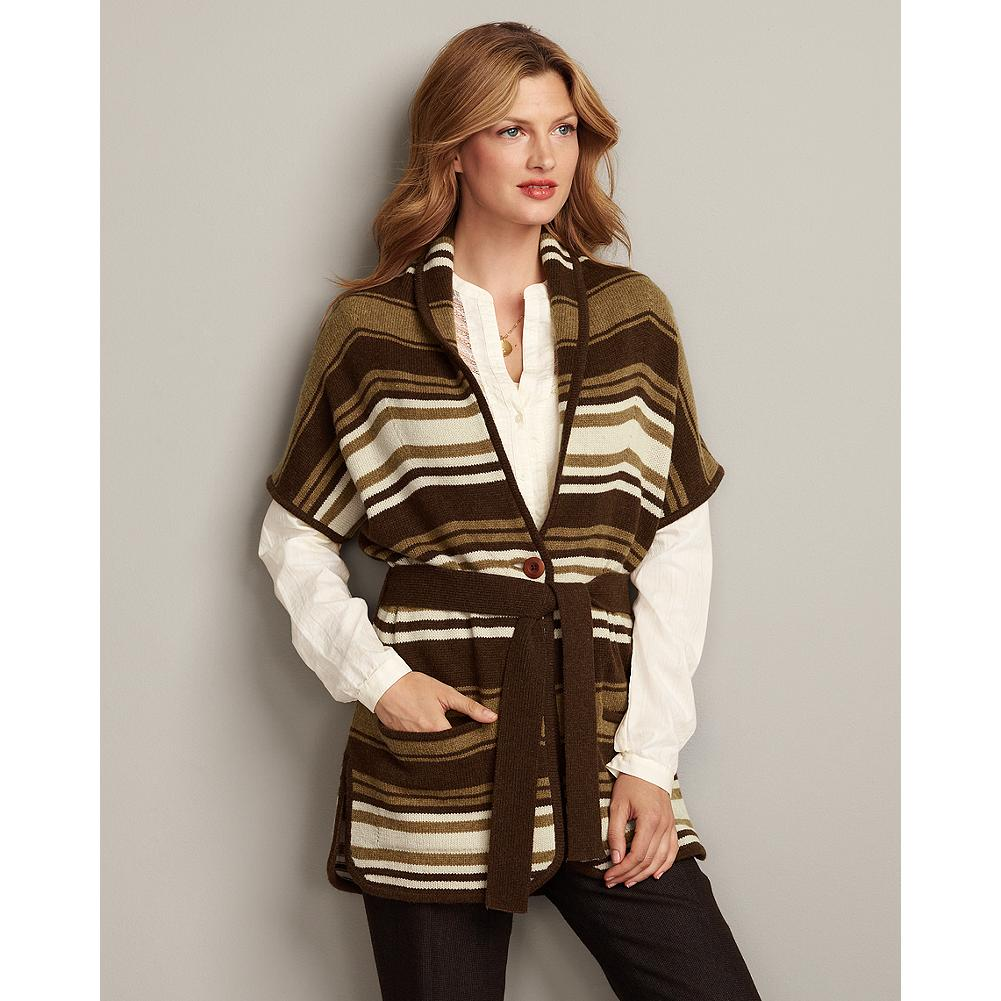 Eddie Bauer Blanket Striped Vest - A beautiful update to your holiday wardrobe, our belted blanket vest is distinguished by its rich colors and classic styling. - $29.99