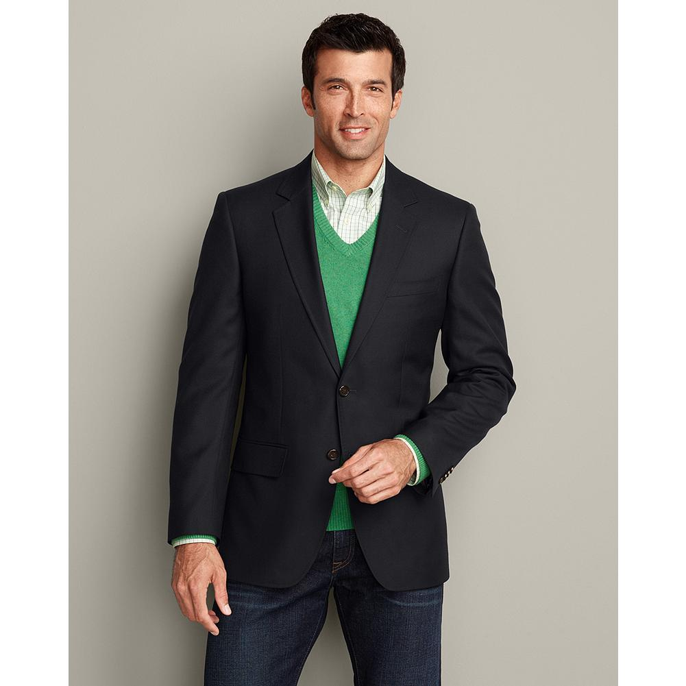 Eddie Bauer Travex Voyager Blazer - This professional-looking blazer is made to travel in a wrinkle-resistant wool blend with an interior boarding pass pocket, a secure zip pocket, and three functional exterior pockets. - $149.99