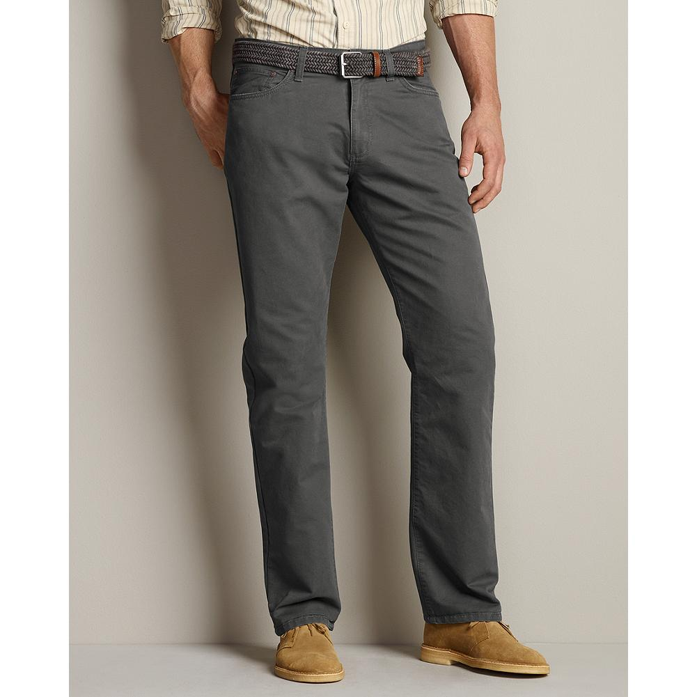 Eddie Bauer Straight Fit Five-Pocket Field Pants - With metal rivet reinforcements and 100% Bedford dobby cotton, these rugged pants are designed for roaming or relaxing just about anywhere. - $29.99
